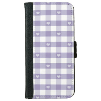 Purple gingham,white,hearts,country chic,girly,fun iPhone 6 wallet case