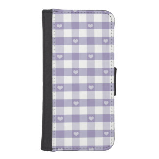 Purple gingham,white,hearts,country chic,girly,fun phone wallets