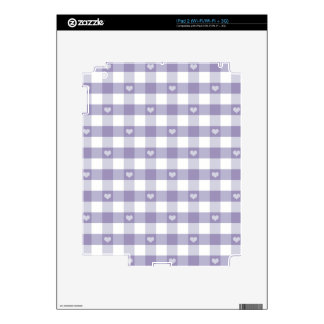 Purple gingham,white,hearts,country chic,girly,fun skin for iPad 2