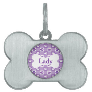Purple Gingham with Paws and Bone Pet Name Tag