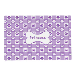 Purple Gingham with Paws and Bone Placemat