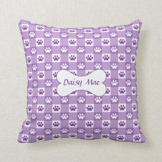 Purple Gingham with Paws and Bone Throw Pillow