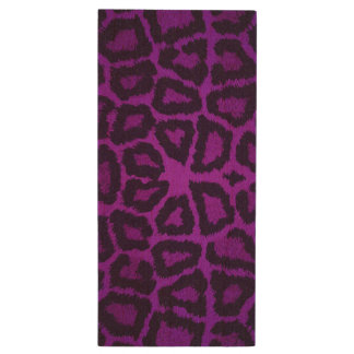 Purple Giraffe Animal Print Wood USB Flash Drive