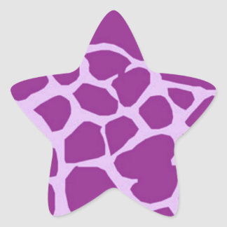 Purple Giraffe Art Star Sticker