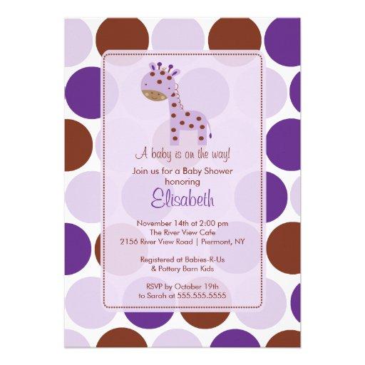 purple giraffe baby shower invitation 5 x 7 invitation card zazzle