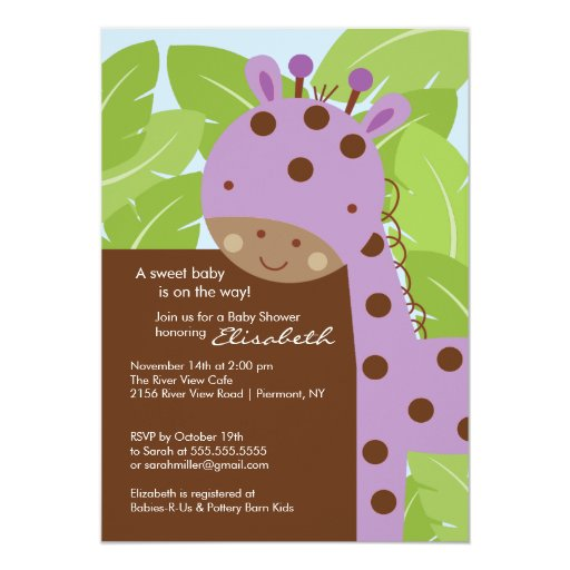 purple giraffe baby shower invitation zazzle