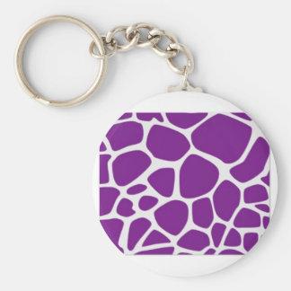 Purple Giraffe Basic Round Button Keychain