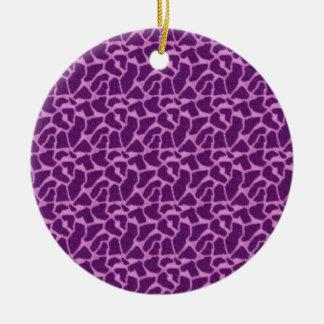 Purple Giraffe Fur Pattern Ceramic Ornament