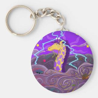 Purple Giraffe Hurricane Basic Round Button Keychain