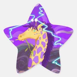 Purple Giraffe Hurricane Star Sticker