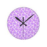 Purple Giraffe Pattern Round Wallclock