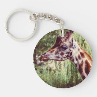 Purple Giraffe Portrait, Animal Photography Single-Sided Round Acrylic Keychain