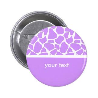 Purple Giraffe Print Customizable Button