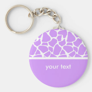 Purple Giraffe Print Customizable Key chain