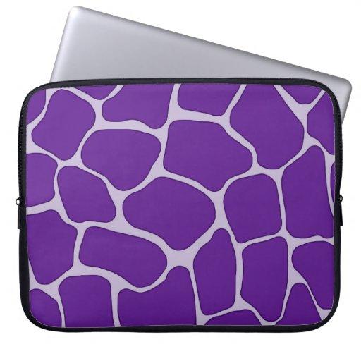 Purple Giraffe Print Electronics Bag Laptop Computer Sleeves