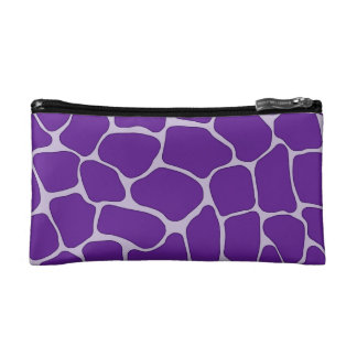 Purple Giraffe Print Small Cosmetic Bag