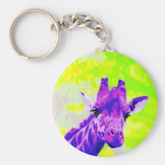 Purple Giraffe Retro Basic Round Button Keychain