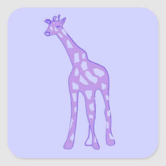 purple giraffe square sticker