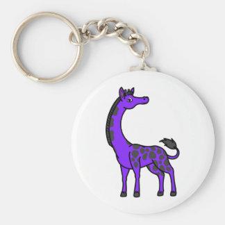 Purple Giraffe with Black Spots Basic Round Button Keychain