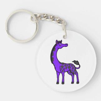 Purple Giraffe with Black Spots Keychain