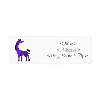 Purple Giraffe with Black Spots Label