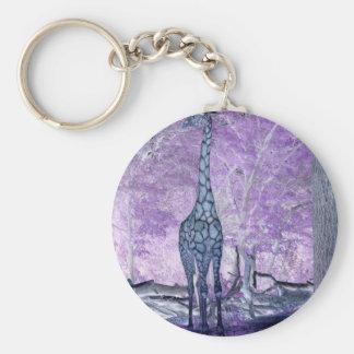 Purple Giraffes Basic Round Button Keychain