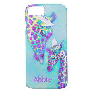 purple giraffes-moma and baby iPhone 7 case