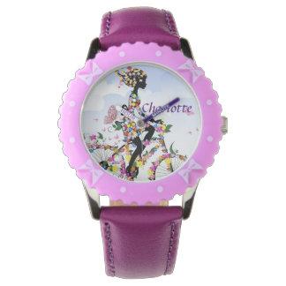 Purple Girl on Bike Wrist Watch