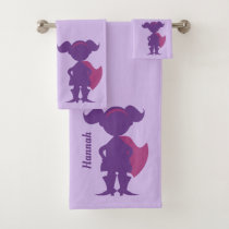 Purple Girl Superhero Silhouette Personalized Kids Bath Towel Set