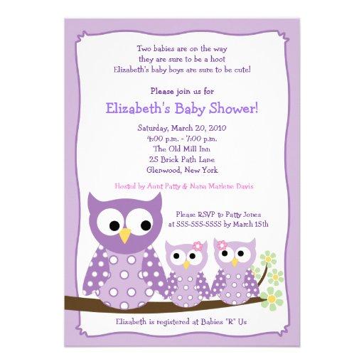 purple girl twin hoot owls baby shower invitation 5 x 7 invitatio