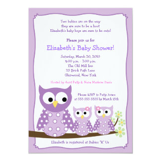 Purple Girl Twin Hoot Owls Baby Shower Invitation
