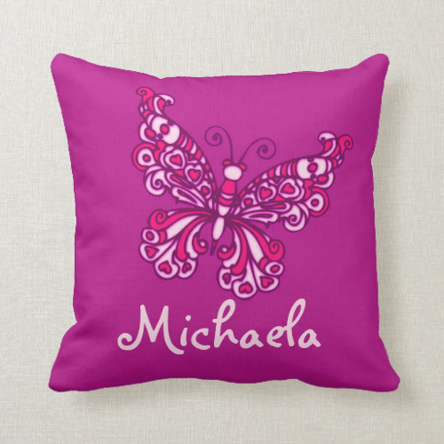 Purple girls 8 letter name butterfly pillow