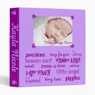 Purple Girls Baby Book 3 Ring Binder