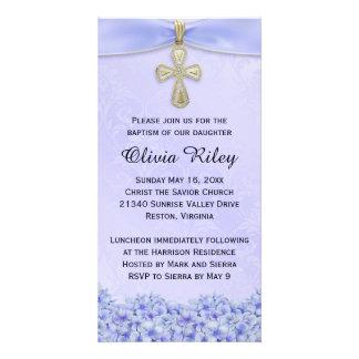 Purple Girls Baptism Christening Invitation Photo Card