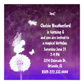 Purple Girl's Fairy Birthday Party Invitation