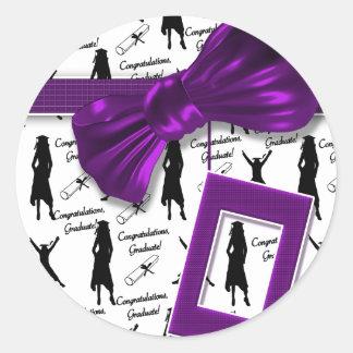 "Purple girls graduation ""class of"" classic round sticker"