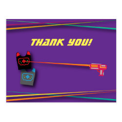 Purple Girl's Laser Tag Birthday Party Thank You Postcard