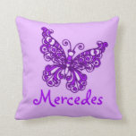 Purple girls name butterfly cushion pillow