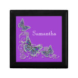 Purple girls name elegant butterfly jewelry box