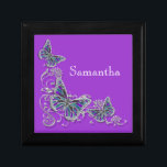 "Purple girls name elegant butterfly jewelry box<br><div class=""desc"">An Elegant, classy and stylish design of FAUX butterflies with wings in shades of lapis, aqua blue, lavender, lilac and mauve are set against a silver flower swirl. CUSTOMIZE IT - Change the wording; the background color and feel free to add or delete templates by using the ""customize it"" button....</div>"