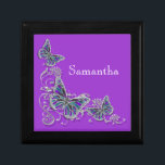 """Purple girls name elegant butterfly jewelry box<br><div class=""""desc"""">An Elegant, classy and stylish design of FAUX butterflies with wings in shades of lapis, aqua blue, lavender, lilac and mauve are set against a silver flower swirl. CUSTOMIZE IT - Change the wording; the background color and feel free to add or delete templates by using the """"customize it"""" button....</div>"""