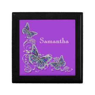 Purple girls name elegant butterfly jewelry box