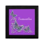 Purple girls name elegant butterfly keepsake box