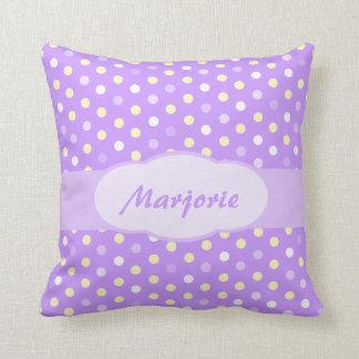 Purple girls name polka dot pillow