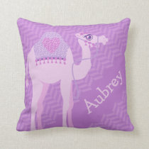 Purple girls named camel chevron cushion pillow