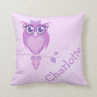 Purple girls named owl chervon cushion pillow