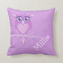 Purple girls named owl chevron cushion pillow