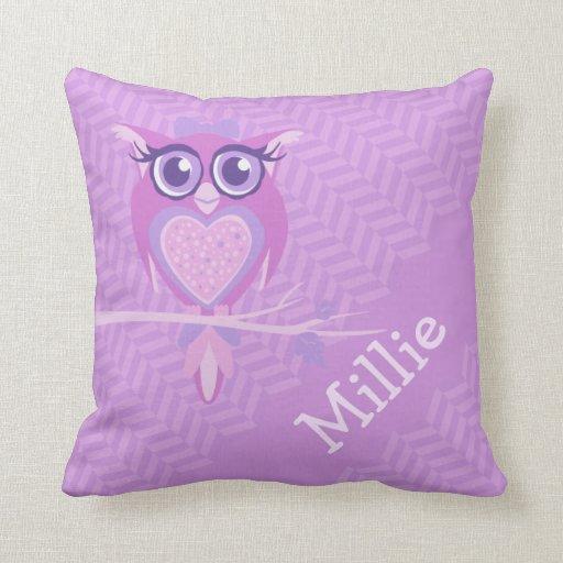 Purple girls named owl chevron cushion pillow
