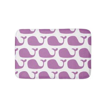Beach Themed Purple Girl's Nautical Ocean Whales Bathroom Mat