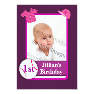 "Purple Girls Photo Baseball Card Birthday Party 5"" X 7"" Invitation Card"